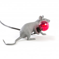 MOUSE LAMP LYING DOWN GREY
